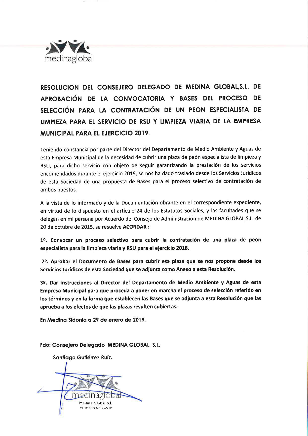 RESOLUCION CONSEJ DELG APROB BASES CONTRATACION PEON LIMPIEZA 30.01.2019