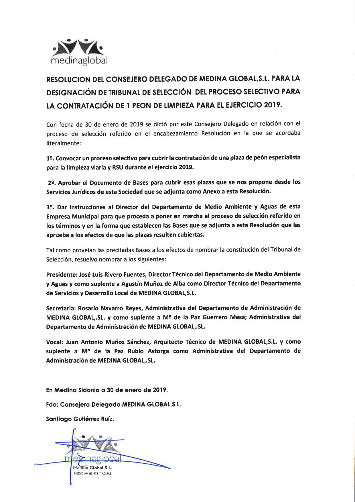 RESOLUCION CONSEJ DELG DESGINACION TRIBUNAL CONTRATACION PEON LIMPIEZA 30.01.2019