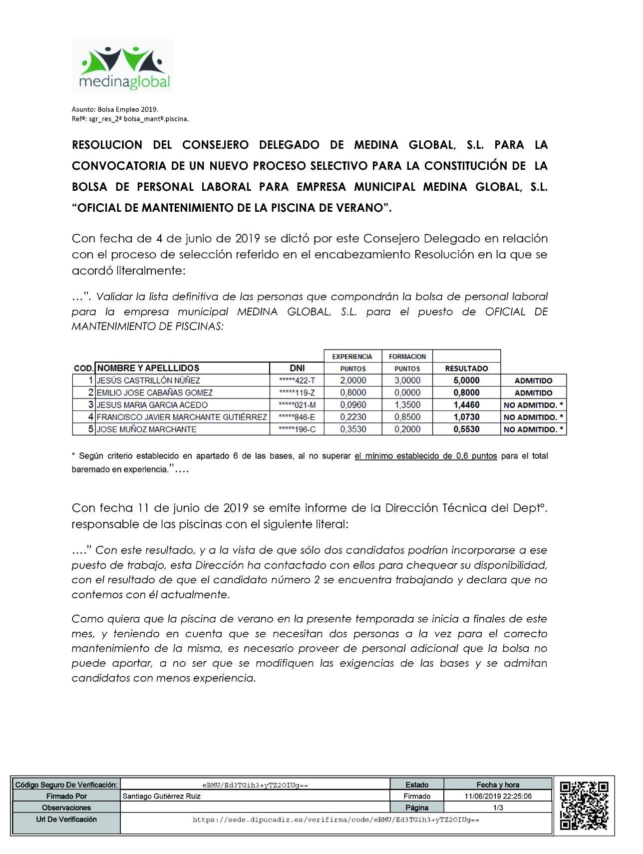 "025689cbac4e 2ª CONVOCATORIA BOLSA DE PERSONAL LABORAL ""OFICIAL DE MANTENIMIENTO DE LA  PISCINA DE VERANO"