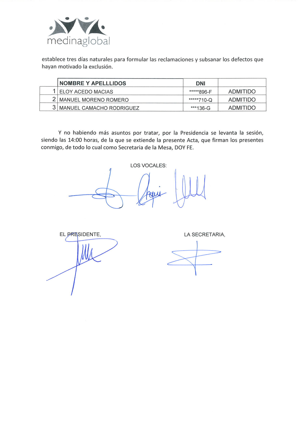 ACTA 4ª MESA DE VALORACION LISTA ADMITIDOS Y EXCLUIDOS 2 ª CONVOCATORIA BOLSA 2019 MONITOR PISCINA-