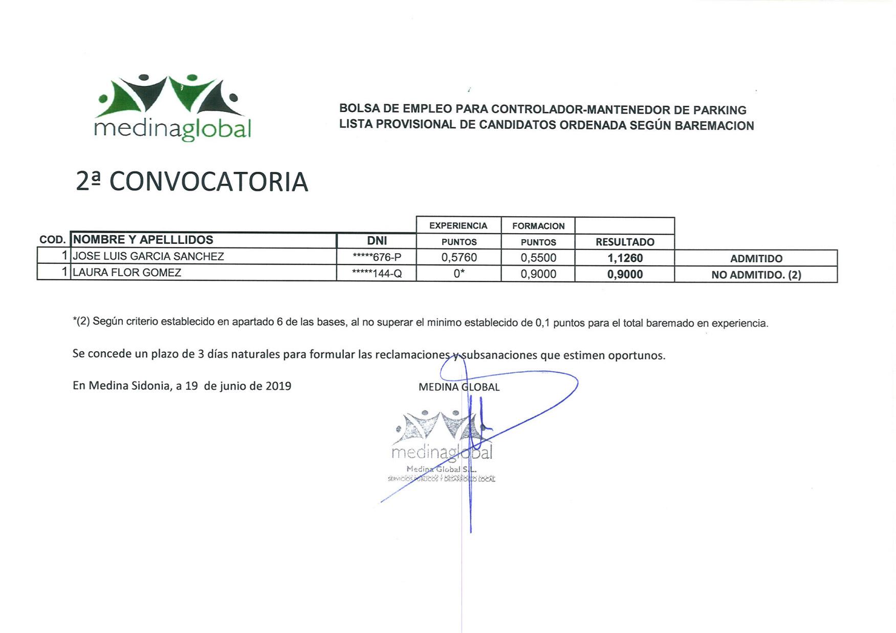 LISTA PROVISIONAL BAREMADA 2ª CONVOCATORIA CONTROLADOR DE PARKING.