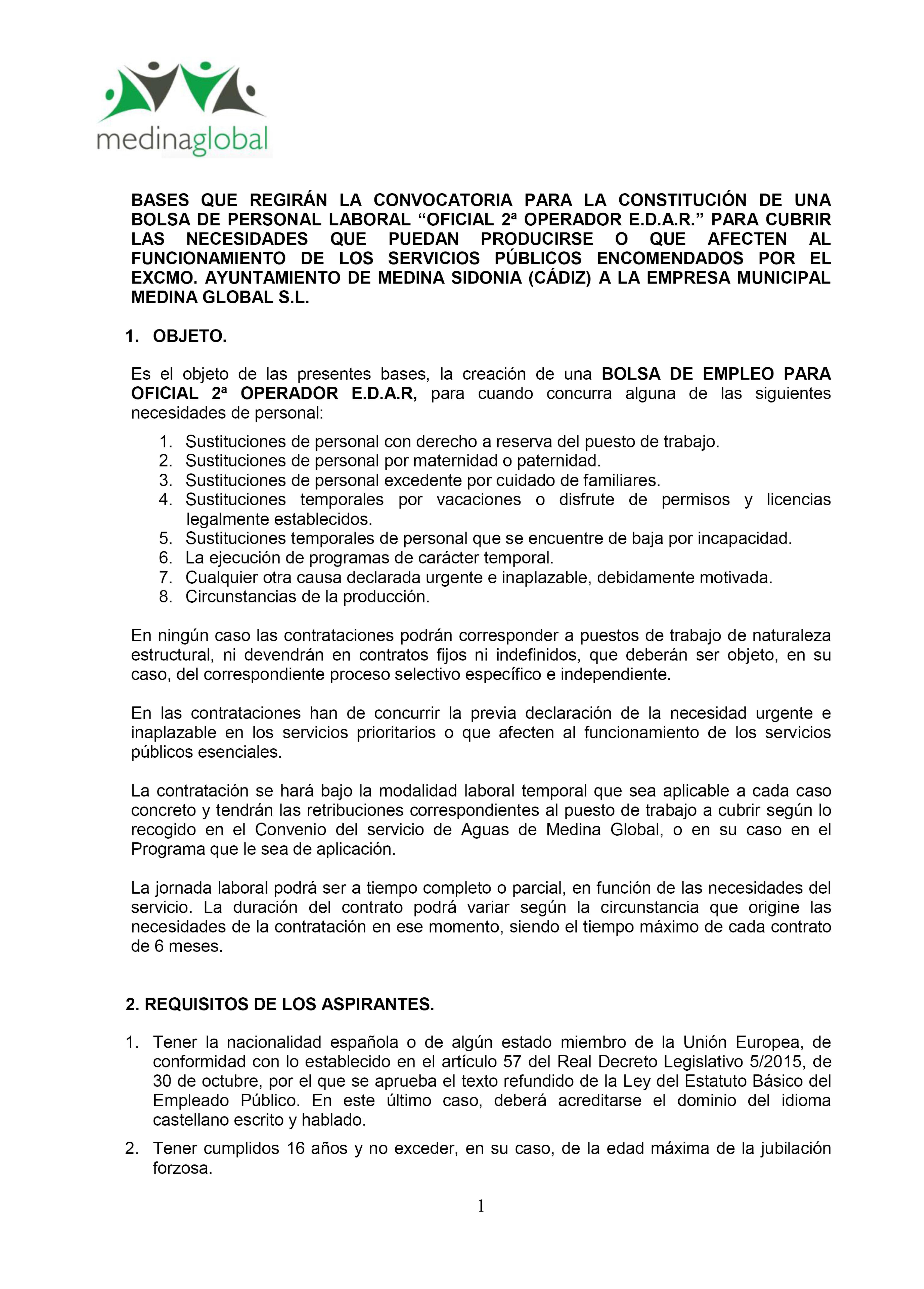 bases para la Constitución de una bolsa para personal laboral Oficial ª Operador EDAR