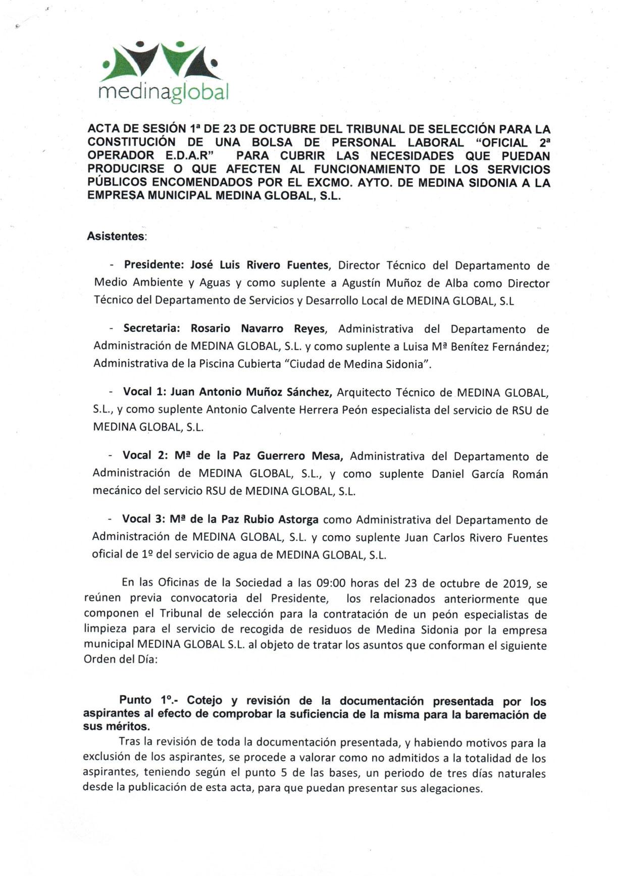 ACTA 1ª MESA DE VALORACION LISTA ADMITIDOS Y EXCLUIDOS OFICIAL 2º OPERADOR EDAR-1