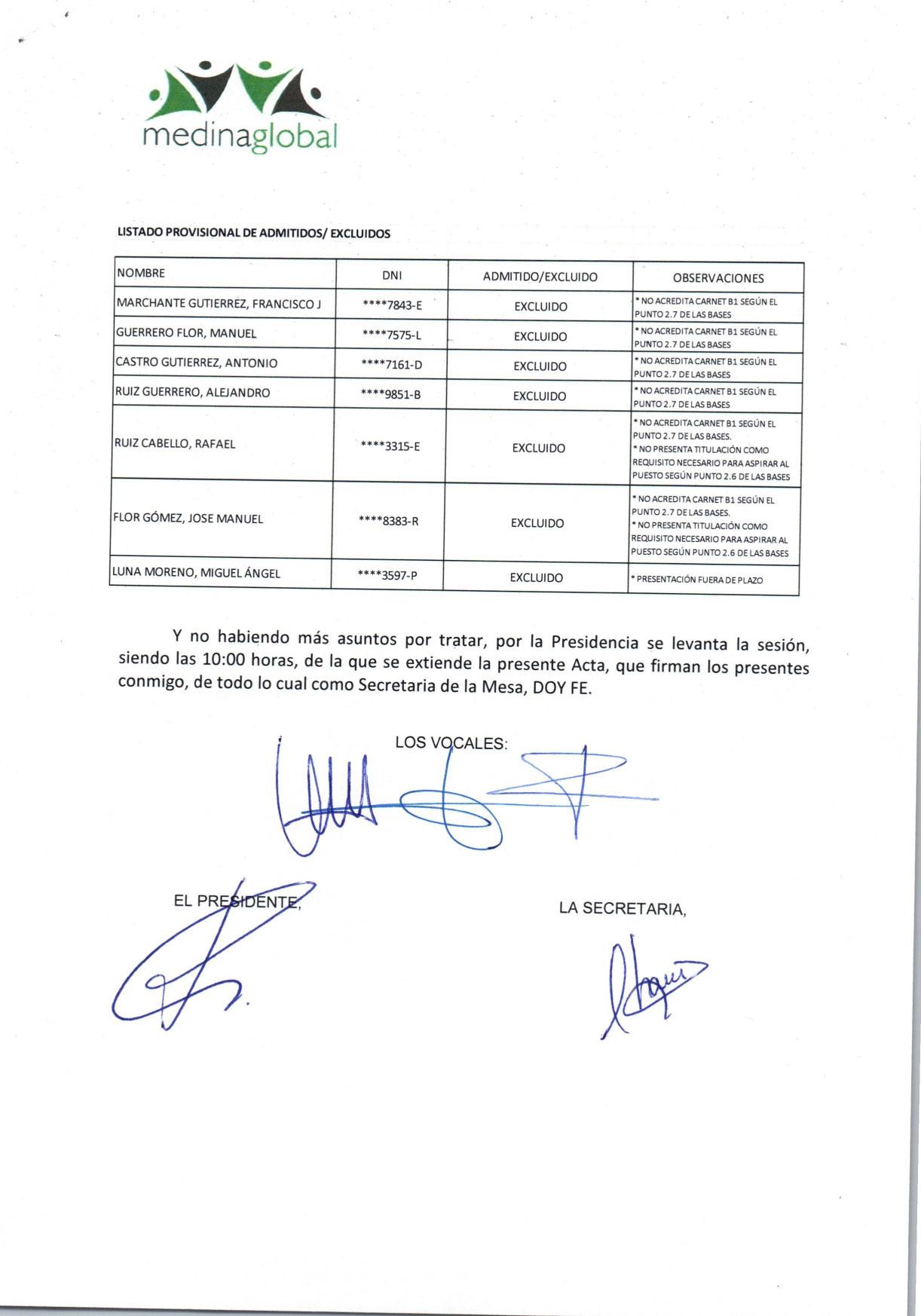 ACTA 1ª MESA DE VALORACION LISTA ADMITIDOS Y EXCLUIDOS OFICIAL 2º OPERADOR EDAR-2
